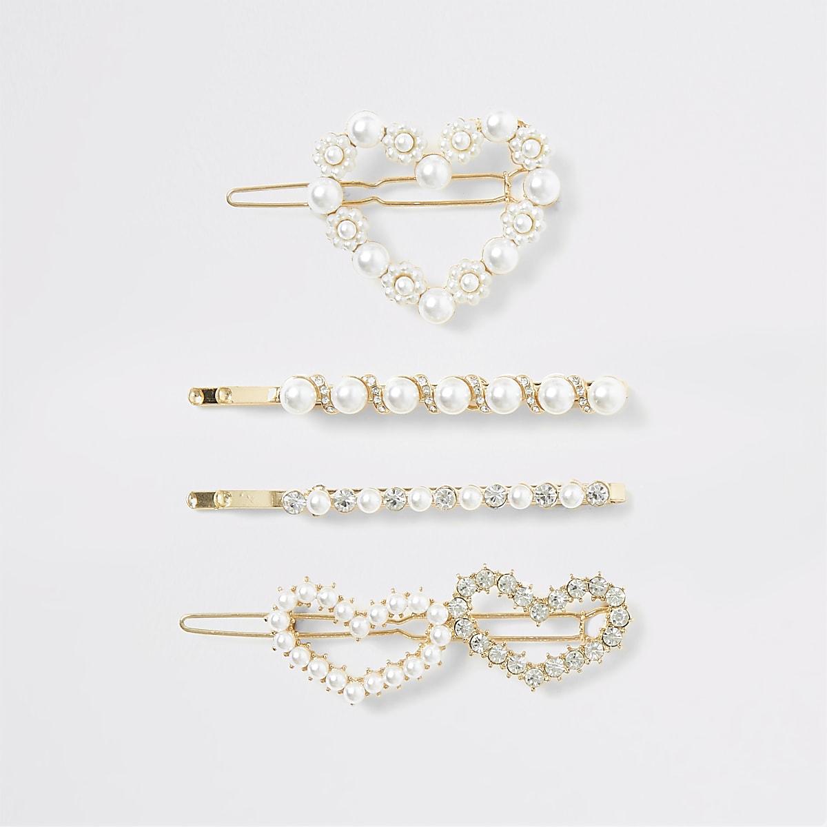 Multipack met goudkleurige haarspeldjes met hartjes met parels