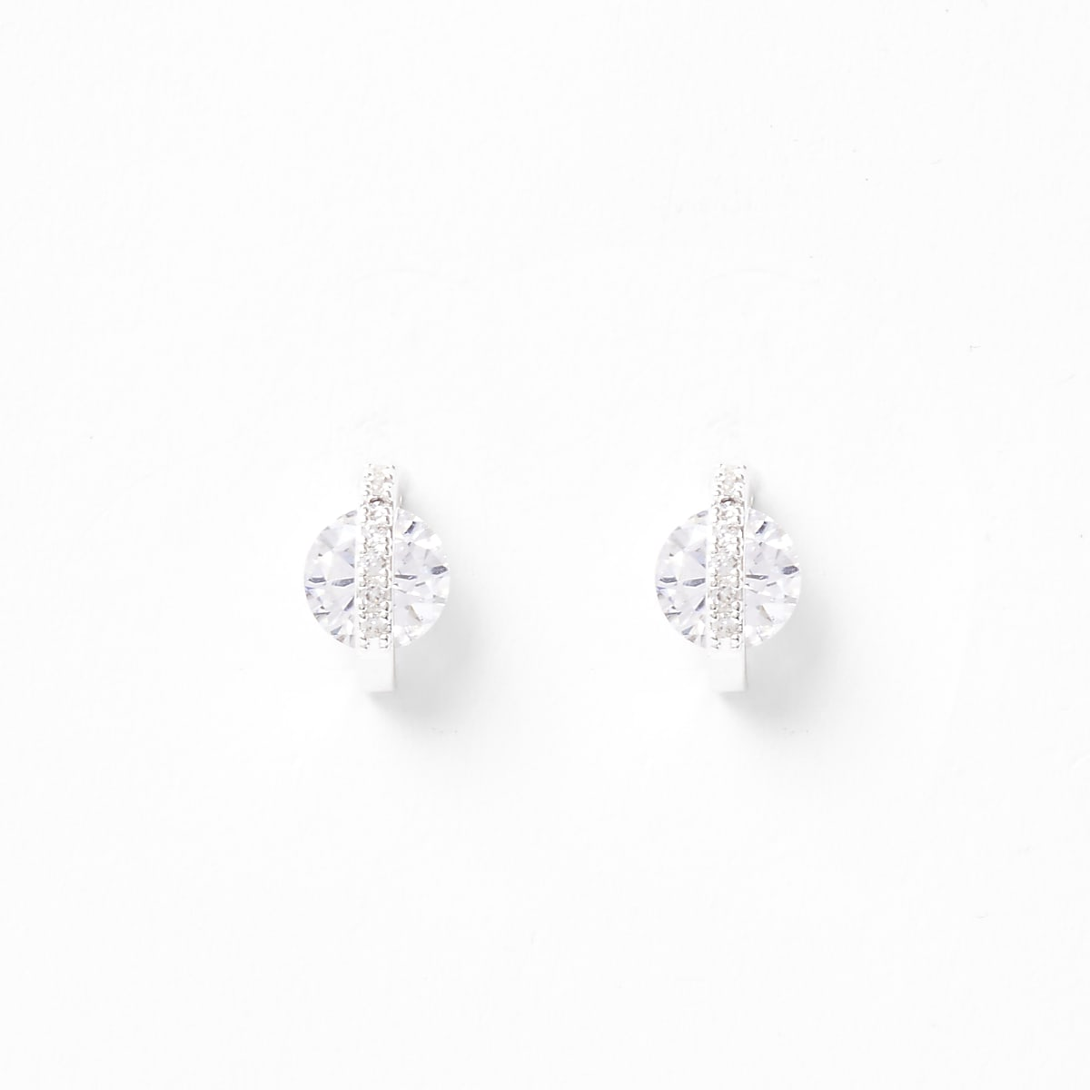 Silver diamante jewel paved stud earrings