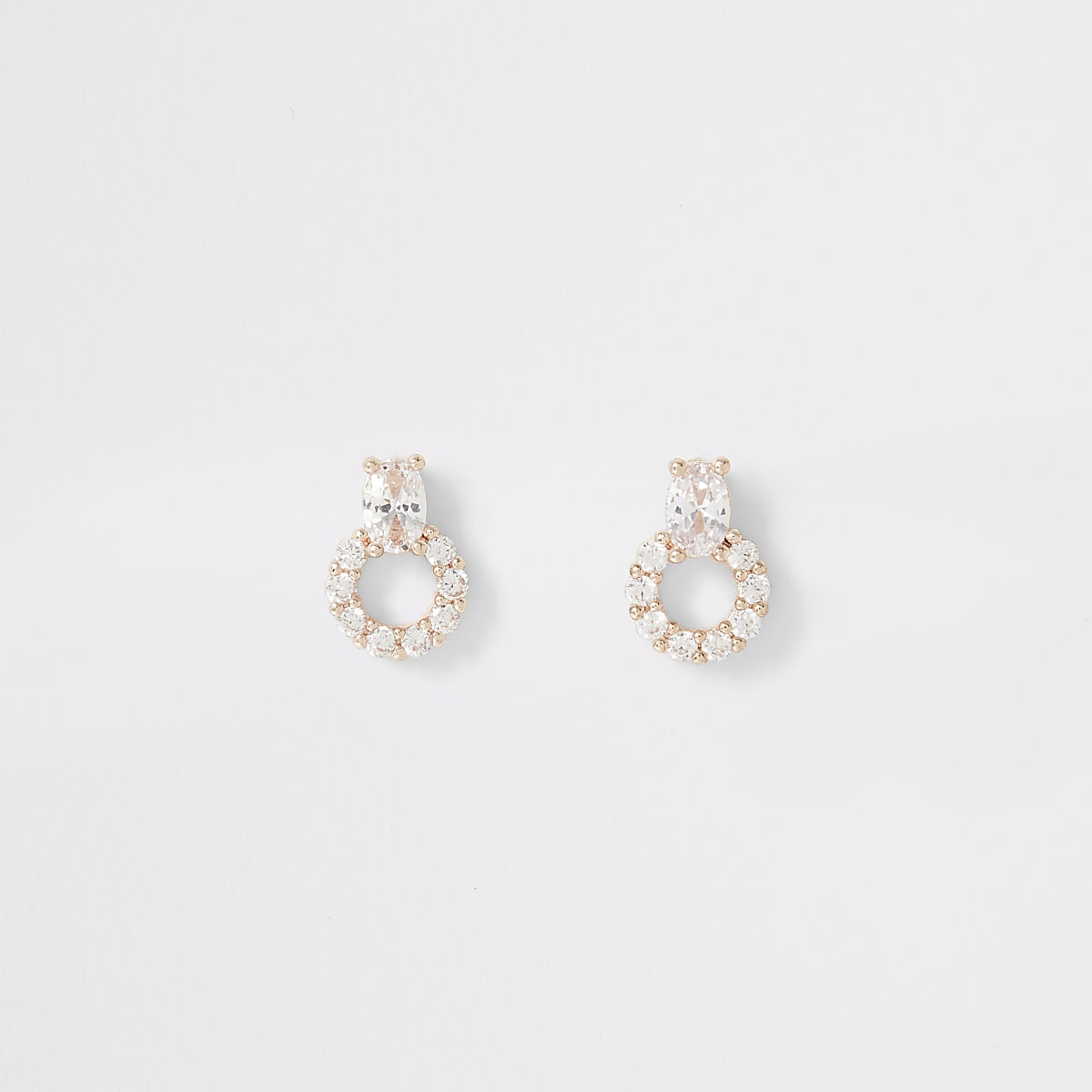 Rose gold diamante circle drop stud earrings