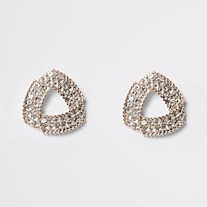 Boucles d'oreilles or rose avec triangles à strass