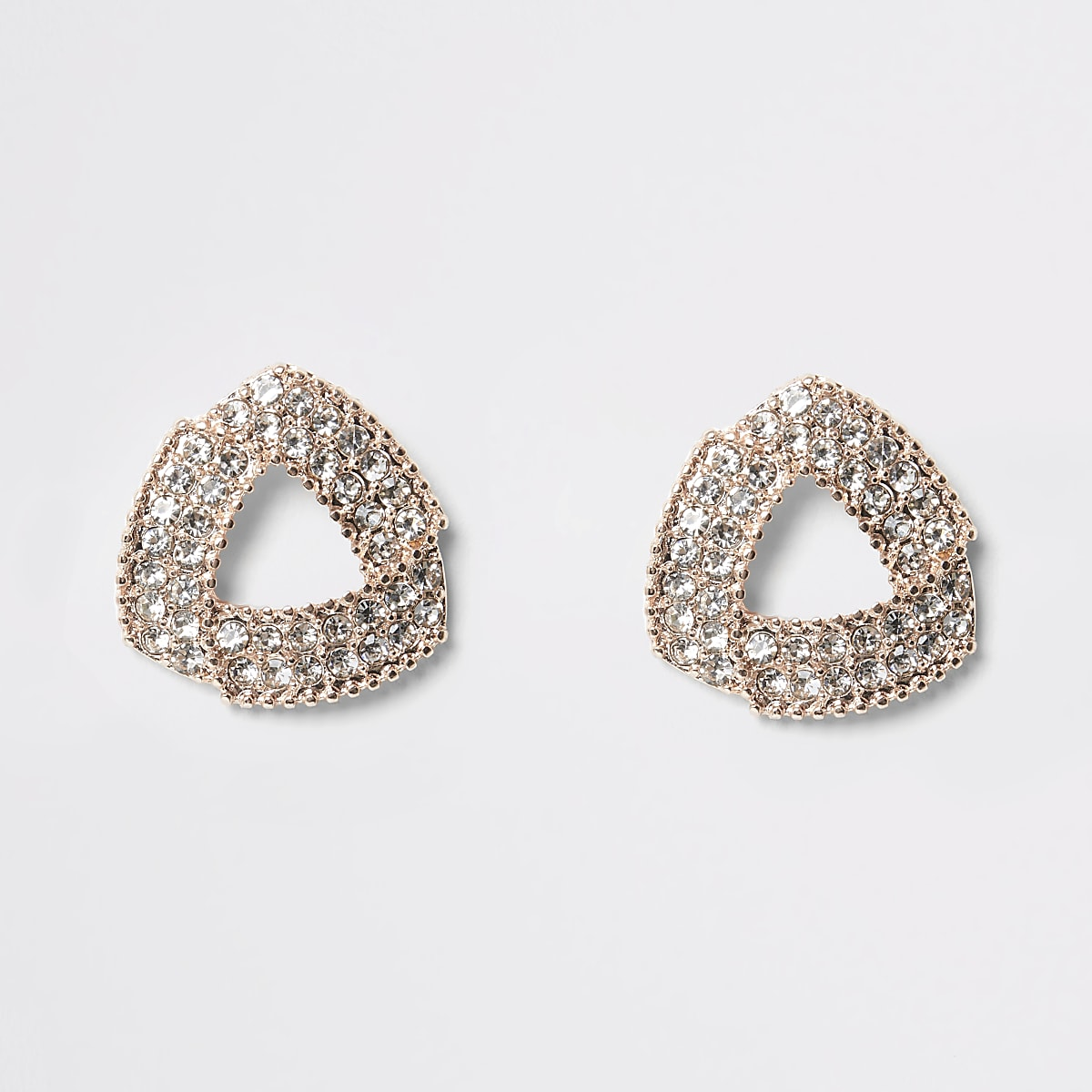 Rose gold colour triangle paved stud earrings