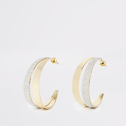 Gold colour double half hoop earrings