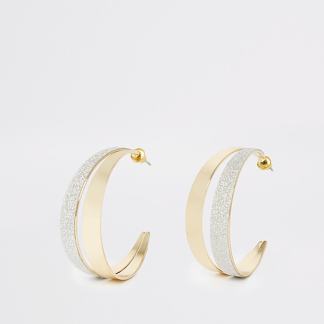 Gold colour double half hoop earrings