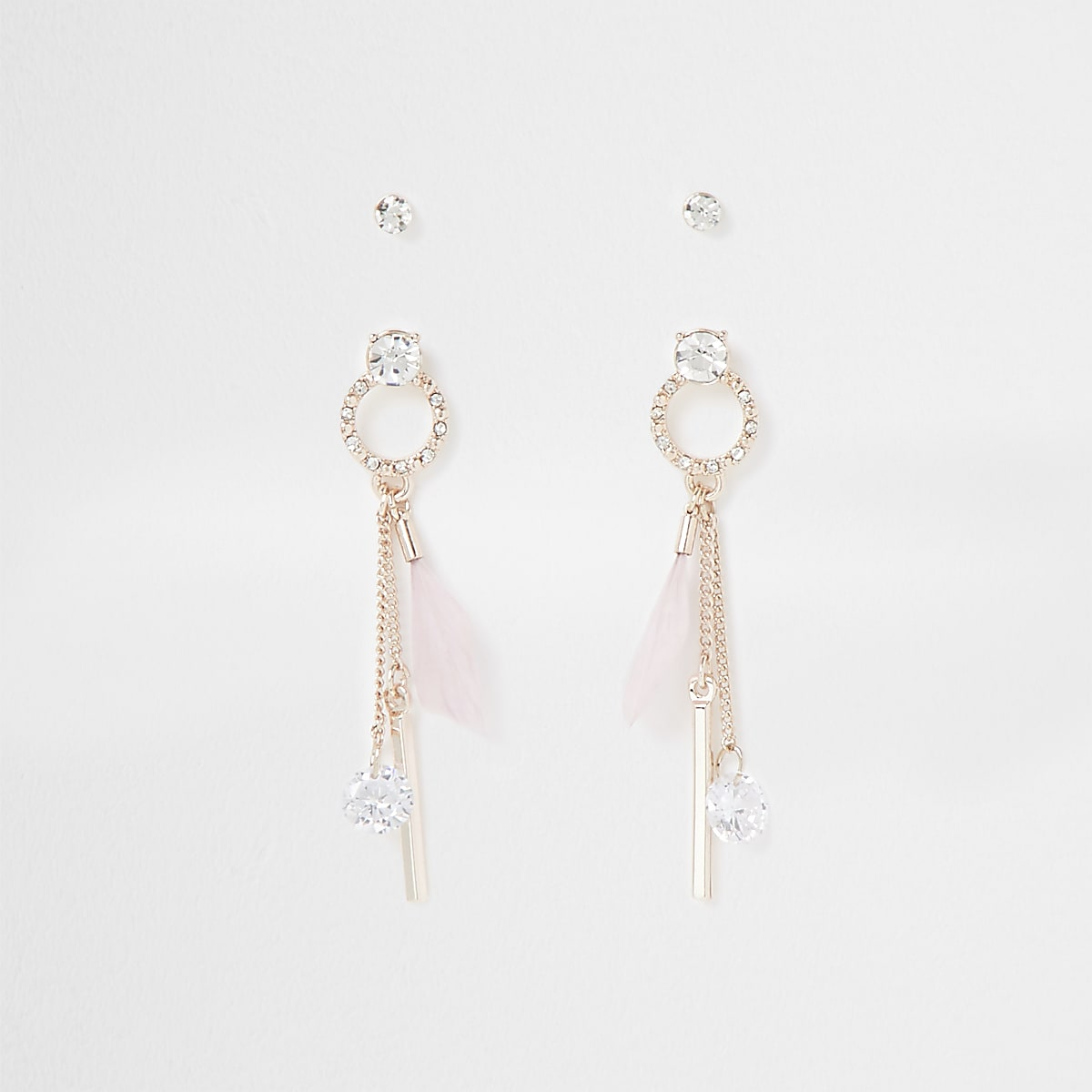 Rose gold diamante feather earring 2 pack