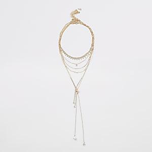 Goldfarbene Halskette im Lagenlook mit Strass und Perle