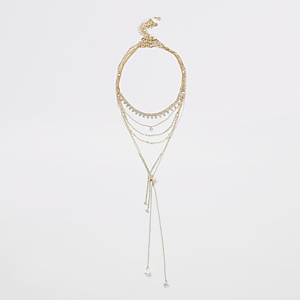 Gold colour diamante pearl layered necklace