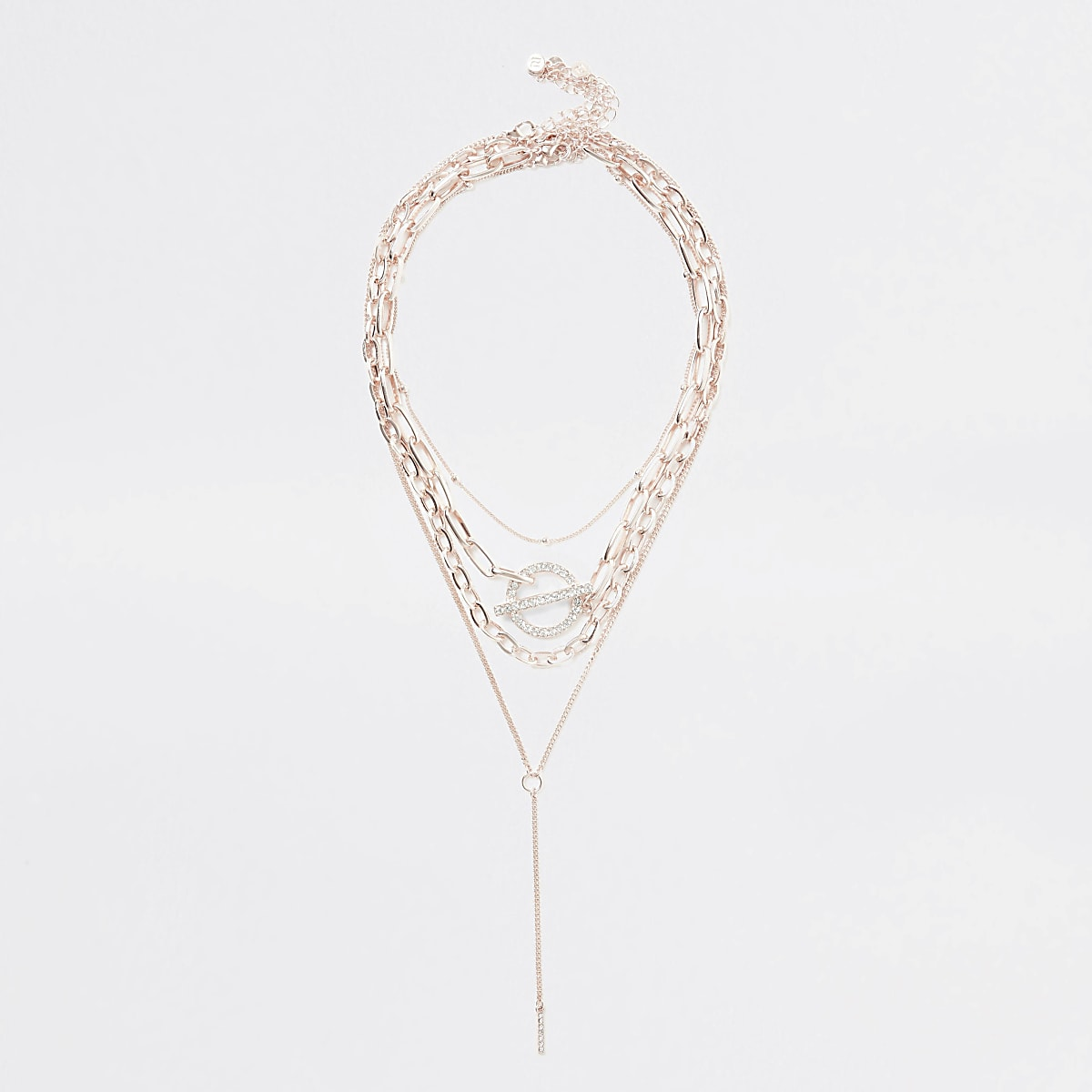 Rose gold colour paved ring layered necklace