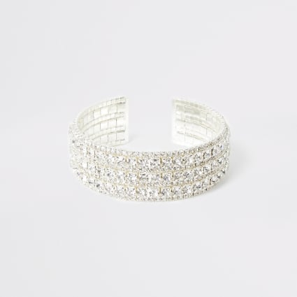 Silver colour diamante cuff bracelet