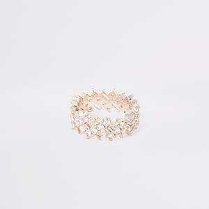 Bague or rose avec rectanglesà strass