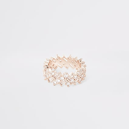Rose gold colour diamante rectangle ring