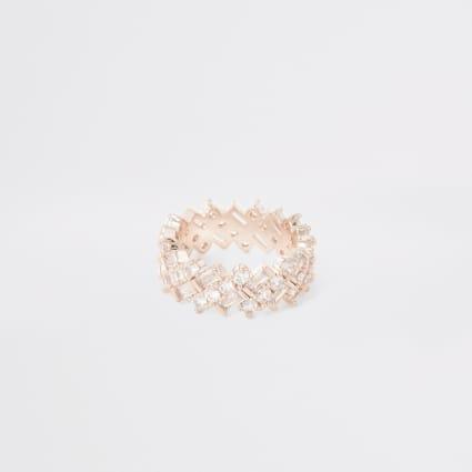 Rose gold colour diamante rectangle ring