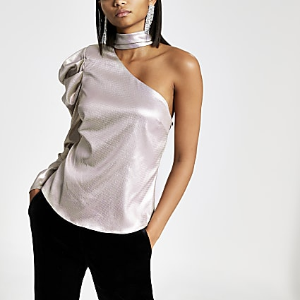 Light purple metallic one shoulder choker top