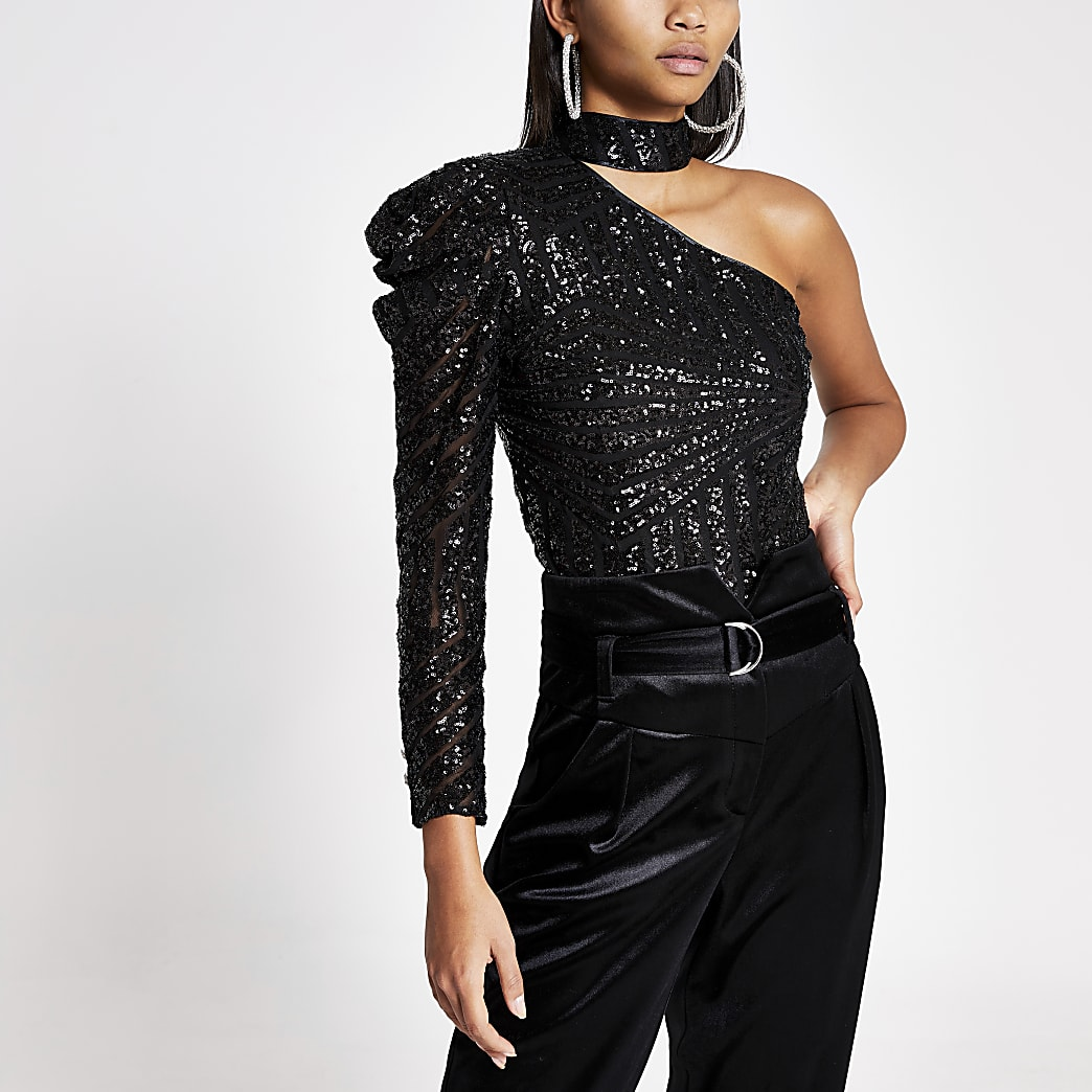 Black sequin one shoulder choker top