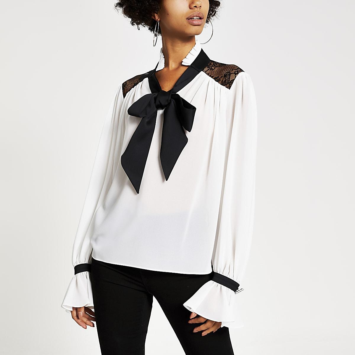 White lace trim tie neck blouse