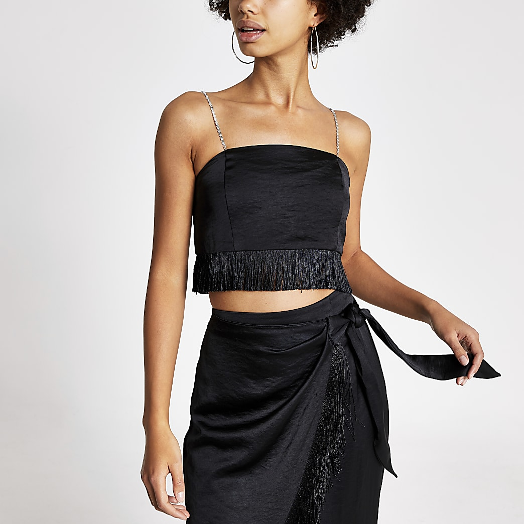 Black satin diamante strap crop top