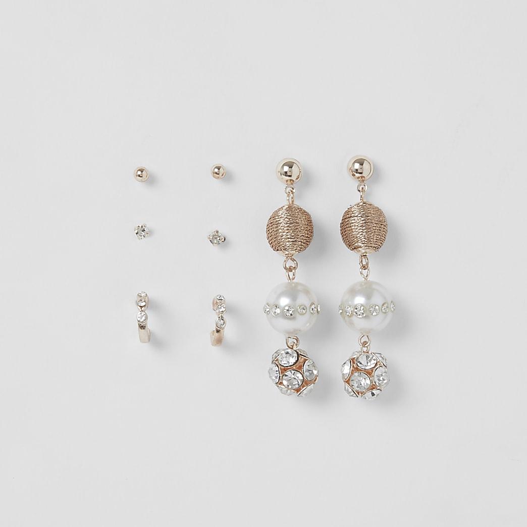 Lot de5 boucles d'oreilles or rose en forme de globe