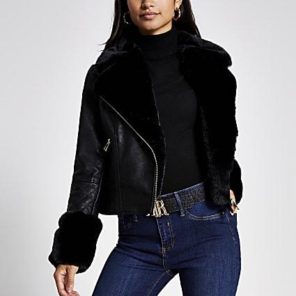 Petite black faux fur cuff biker jacket