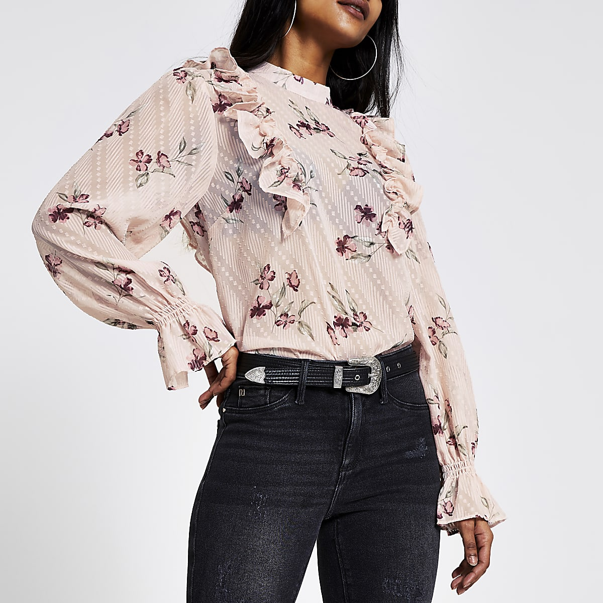 Petite pink floral frill sleeve blouse