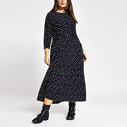 Plus black spot midi smock dress