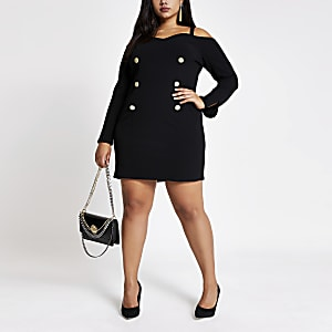 Plus – Schwarzes Minikleid mit Bardot-Ausschnitt