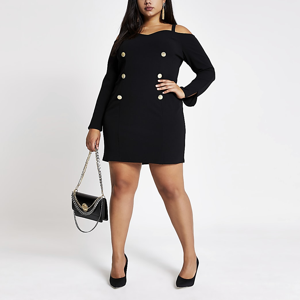 Plus black bardot mini dress