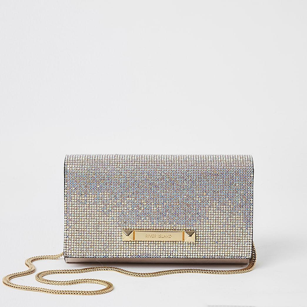 Pink diamante underarm clutch bag