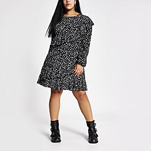 Plus - Mini-robe noire impriméeà volants