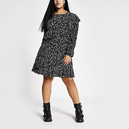 Plus black printed frill mini dress