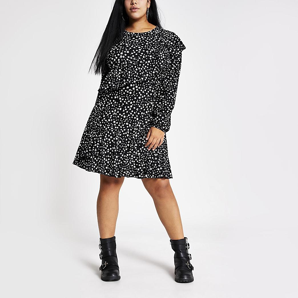 Plus black printed frill mini dress