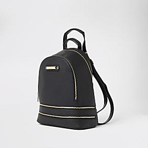 Black textured zip bottom backpack