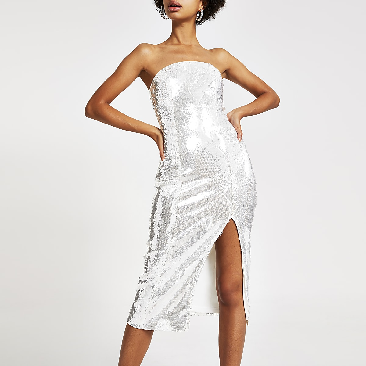 Silver sequin bandeau bodycon midi dress
