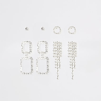 Silver colour diamante tassel earring 4 pack