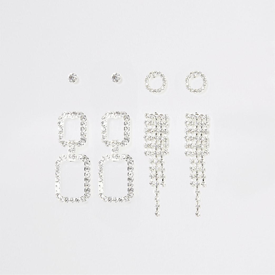 Set van 4 zilverkleurige oorbellen met kwastjes en siersteentjes