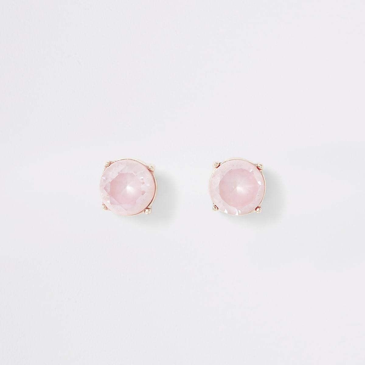 Roségoudkleurige oorknopjes met roze siersteentjes