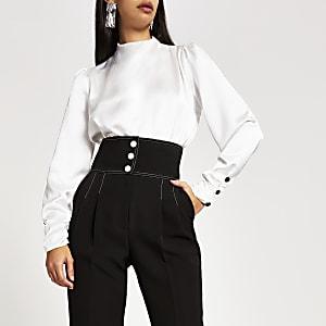Weiße, langärmlige Bluse