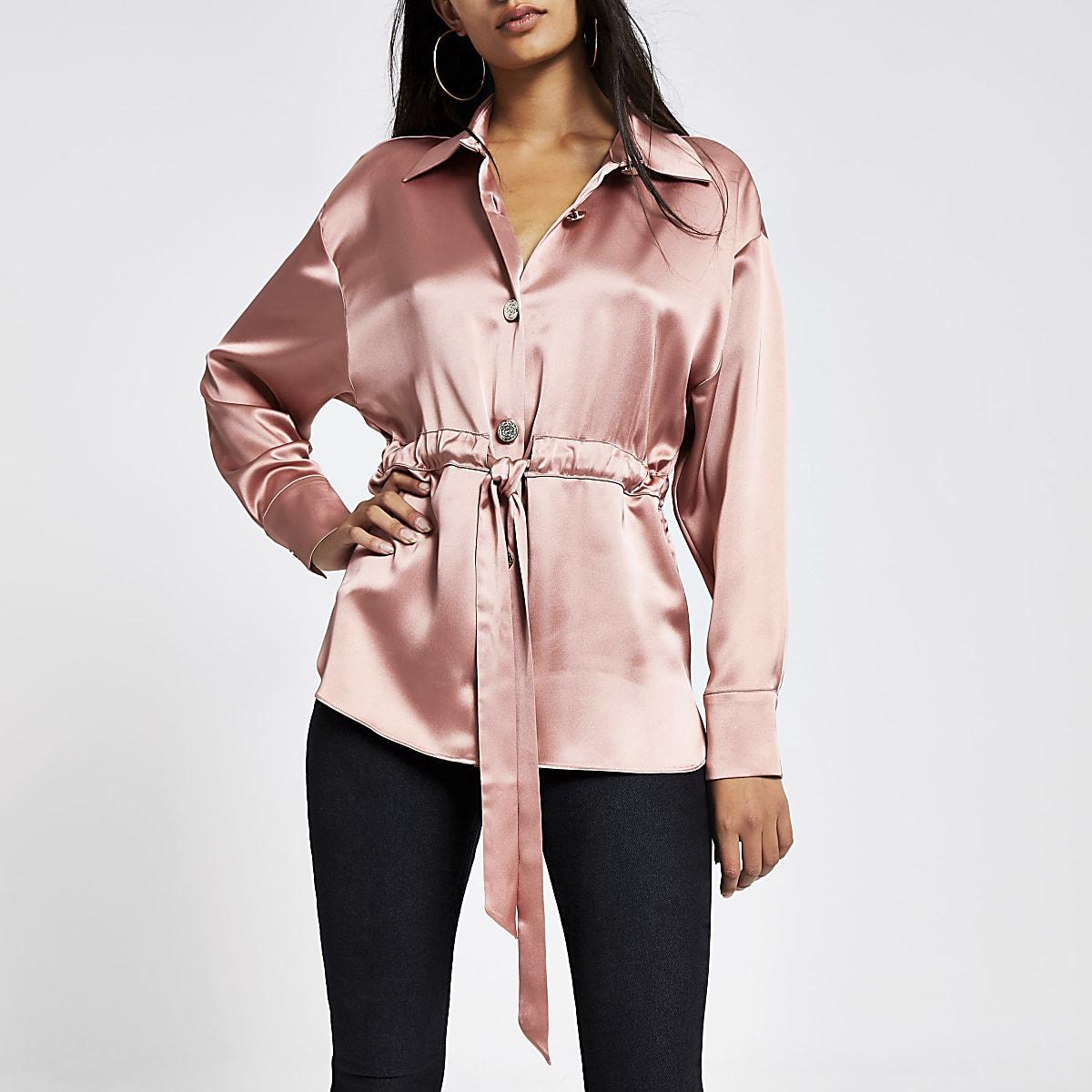 Pink satin tie waisted long sleeve shirt