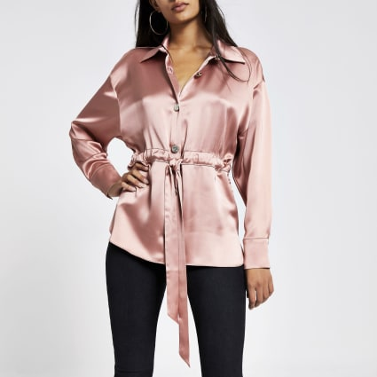 Pink satin tie waisted long sleeve shirt