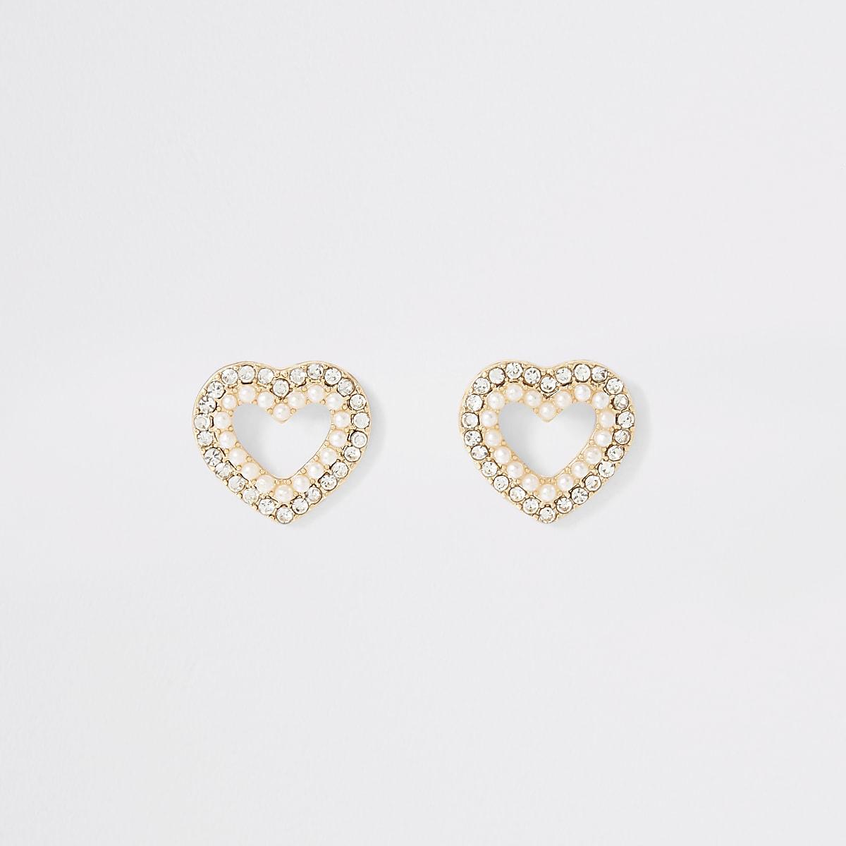 Goudkleurige hartoorbellen met siersteentjes en parels