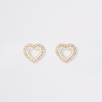 Gold colour diamante and pearl heart earrings
