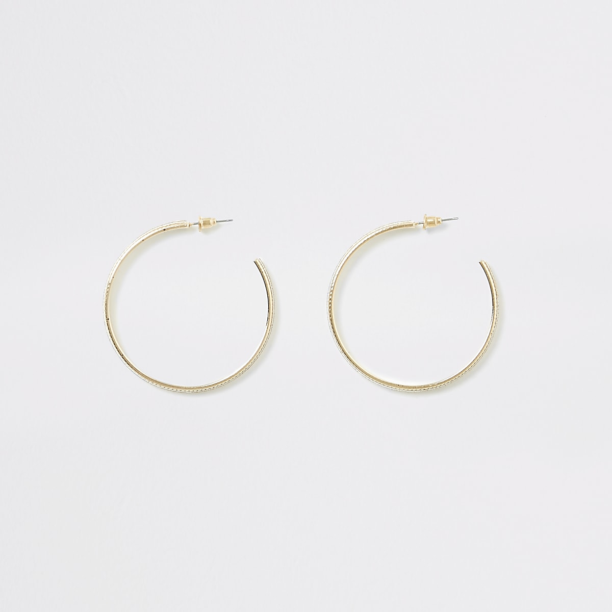 Gold colour glitter half hoop earrings