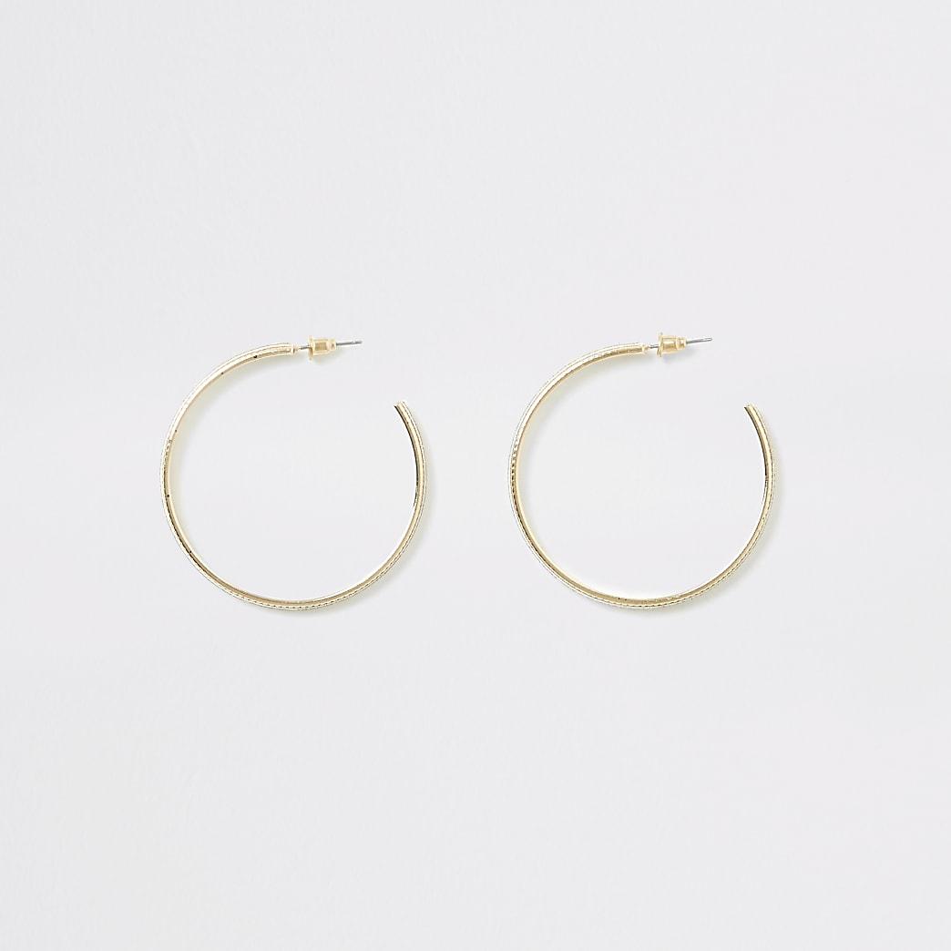 Gold colour glitter half hoop earrings