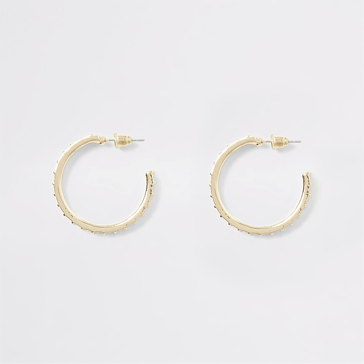 Gold colour textured diamante hoop earrings