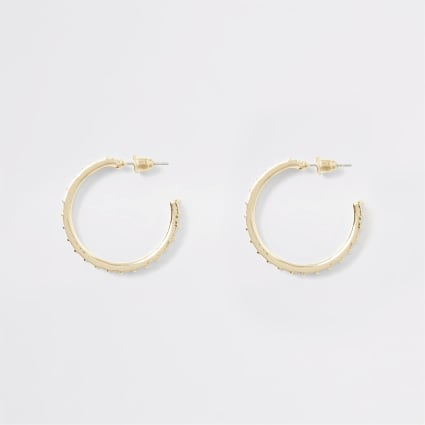 Gold colour textured diamante hoop earrings
