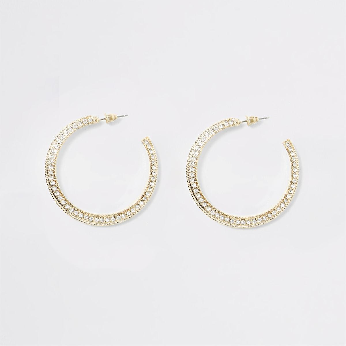 Gold colour diamante chunky hoop earrings