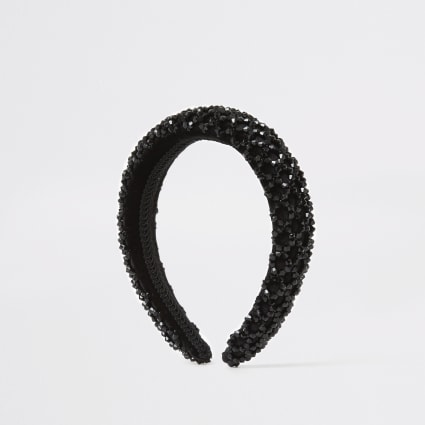 Black puffed beaded headband