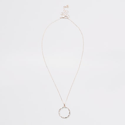 Rose gold diamante circle pendant necklace