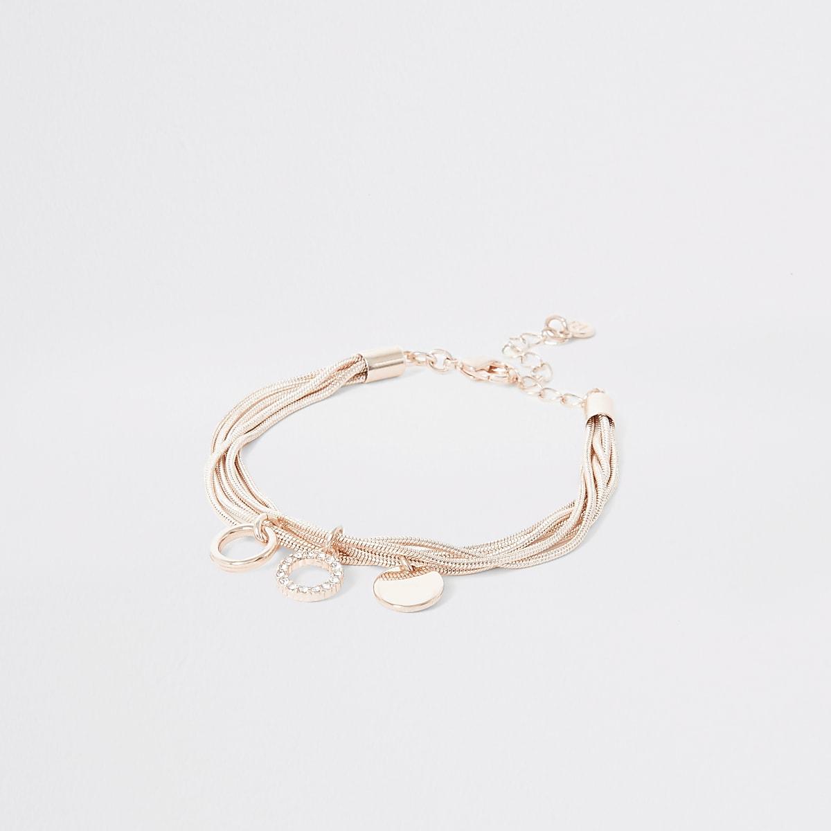 Rose gold colour layered bracelet