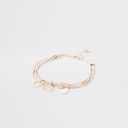 Rose gold colour layered bracelet