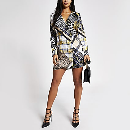 Petite brown printed long sleeve tux dress