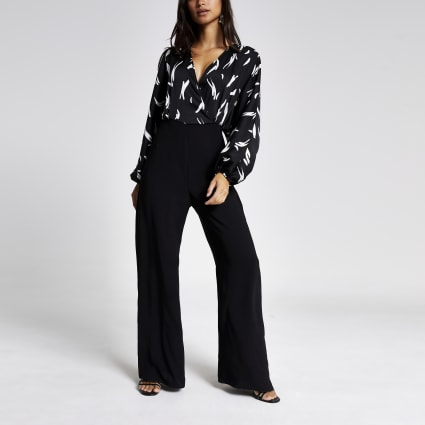 Petite black printed wrap jumpsuit